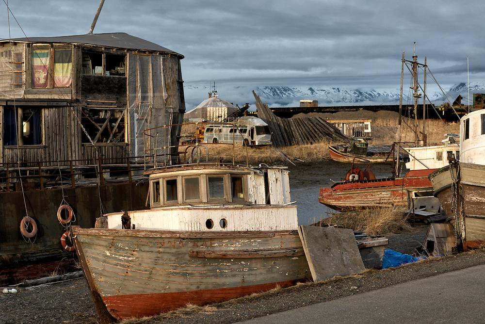 Old boatyard along the roadway to Homer, Alaska.