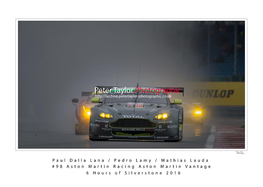 Paul Dalla lana (CAN) / Pedro Lamy (PRT) / Mathias Lauda (AUT) #98 Aston Martin Racing Aston Martin Vantage, WEC 6 Hours of Silverstone 2016 at Silverstone, Towcester, Northamptonshire, United Kingdom. April 16 2016. World Copyright Peter Taylor.