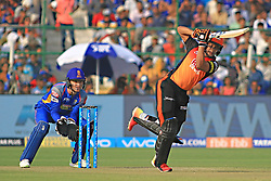 April 29, 2018 - Jaipur, Rajasthan, India - Sunrisers  Hyderabad batsman Shakib Al Hasan plays a shot during the IPL T20 match against Rajasthan Royals at Sawai Mansingh Stadium in Jaipur on 29th April,2018. (Credit Image: © Vishal Bhatnagar/NurPhoto via ZUMA Press)
