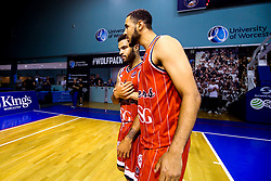 Lewis Champion of Bristol Flyers celebrates with Christopher Taylor of Bristol Flyers after his 3 pointer wins a dramatic game against Worcester Wolves - Mandatory by-line: Robbie Stephenson/JMP - 05/10/2018 - BASKETBALL - University of Worcester Arena - Worcester, England - Bristol Flyers v Worcester Wolves - British Basketball League