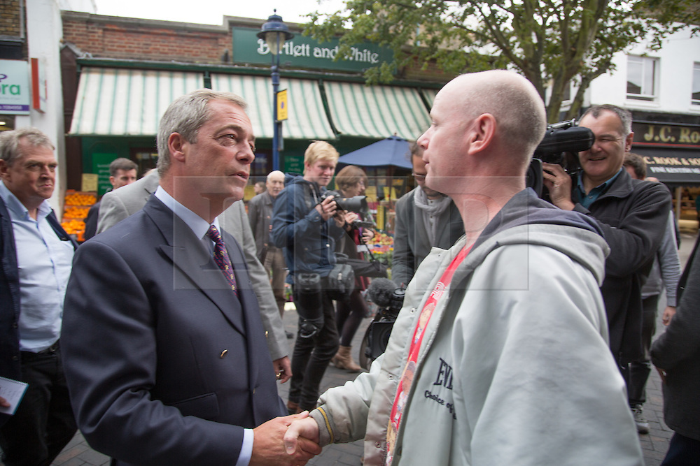 """@Licensed to London News Pictures 07/09/15. Ramsgate, Kent. Nigel Farage Leader of the UKIP Party  goes on walkabout today to launch his party's """"Say No To The EU"""" Tour in Ramsgate town centre. Photo credit: Manu Palomeque/LNP"""