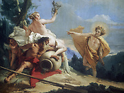Apollo Pursuing Daphne' (c1755-1760).   Greek mythology.  Daphne, daughter of river god Peneus, dedicated to life of virginity. When pursued by  Helios (Roman Apollo), the sun god, fled to gods for protection and was turned into a laurel tree.   Giovanni Battista Tiepolo (1696-1770) Italian painter. Oil on canvas.