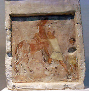 Painted limestone funerary slab with a man controlling a rearing horse. Greek, Hellenistic 2nd half of 3rd century B.C.