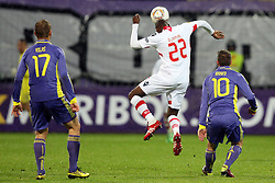 Dalibor Volas and Agim Ibraimi of NK Maribor and Djamal of NK Braga at 3th round of European Leauge football match between Nk Maribor and Nk Braga, November 20, 2011, in Maribor, Slovenia (Photo by Urban Urbanc / Sportida ) .