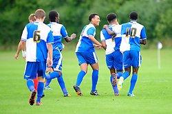 Bristol Rovers' U18s Aaron Ward-Baptise celebrates with his team mates after scoring. - Photo mandatory by-line: Dougie Allward/JMP - Tel: Mobile: 07966 386802 17/08/2013 - SPORT - FOOTBALL - Bristol Rovers Training Ground - Friends Life Sports Ground - Bristol - Academy - Under 18s - Youth - Bristol Rovers U18s V Bournemouth U18s