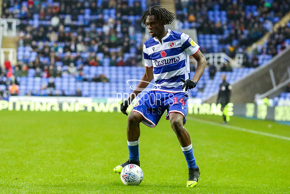 Reading midfielder Ovie Ejaria (14) during the EFL Sky Bet Championship match between Reading and Luton Town at the Madejski Stadium, Reading, England on 9 November 2019.
