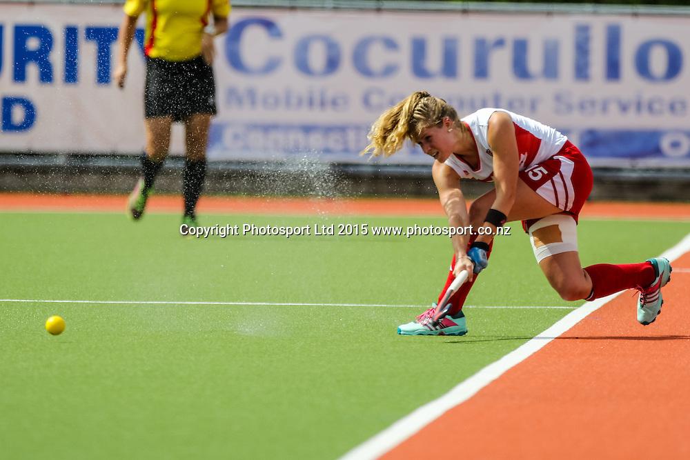 Abigail Raye in action. International Womens Hockey. New Zealand Black Sticks v Canada. Whangarei. New Zealand. Sunday 8 February 2015. Copyright Photo: Heath Johnson / www.photosport.co.nz