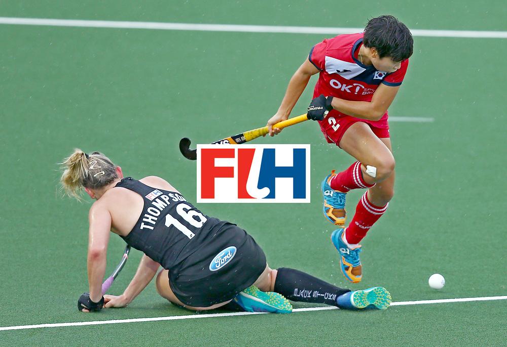 New Zealand, Auckland - 18/11/17  <br /> Sentinel Homes Women&rsquo;s Hockey World League Final<br /> Harbour Hockey Stadium<br /> Copyrigth: Worldsportpics, Rodrigo Jaramillo<br /> Match ID: 10295 - NZL vs KOR<br /> Photo: (2) CHA Yesol against (16) THOMPSON Liz