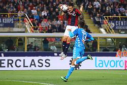 """Foto LaPresse/Filippo Rubin<br /> 25/05/2019 Bologna (Italia)<br /> Sport Calcio<br /> Bologna - Napoli - Campionato di calcio Serie A 2018/2019 - Stadio """"Renato Dall'Ara""""<br /> Nella foto: GOAL BOLOGNA FEDERICO SANTANDER (BOLOGNA F.C.)<br /> <br /> Photo LaPresse/Filippo Rubin<br /> May 25, 2019 Bologna (Italy)<br /> Sport Soccer<br /> Bologna vs Napoli - Italian Football Championship League A 2018/2019 - """"Dall'Ara"""" Stadium <br /> In the pic: GOAL BOLOGNA FEDERICO SANTANDER (BOLOGNA F.C.)"""