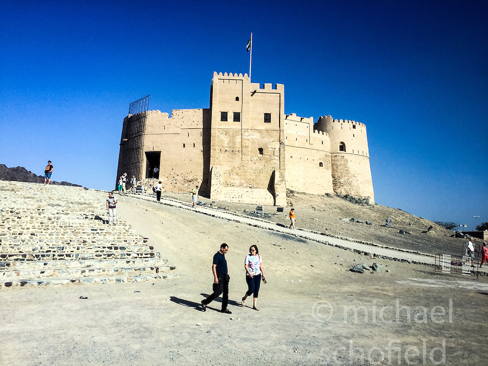 Pic of the Fujairah Fort, off Madhab Road on the northern edge of the city centre, Khor al Fakkan, taken on an iPhone6. Images from the MSC Musica cruise to the Persian Gulf, visiting Abu Dhabi, Khor al Fakkan, Khasab, Muscat, and Dubai, traveling from 13/12/2015 to 20/12/2015.