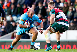 Callum Black of Worcester Warriors takes on Facundo Gigena of Leicester Tigers - Mandatory by-line: Robbie Stephenson/JMP - 03/11/2018 - RUGBY - Welford Road Stadium - Leicester, England - Leicester Tigers v Worcester Warriors - Gallagher Premiership Rugby