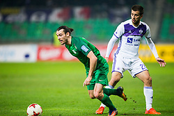 Klinar of NK Olimpija Ljubljana and Mitja Viler of NK Maribor during football match between NK Olimpija Ljubljana and NK Maribor in 1st leg match in Quaterfinal of Slovenian cup 2017/2018, on November 11, 2017 in SRC Stozice, Ljubljana, Slovenia.  Photo by Ziga Zupan / Sportida