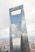 View of the Shanghai World Financial Center in Lujiazui Pudong area of Shanghai, China.