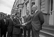 "20/07/1967<br /> 07/20/1967<br /> 20 July 1967 <br /> Ulster Farmers Union meet National Farmers Association at N.F.A. House, Dublin. Six members of the Ulster Farmers Union led by their President Mr Pat Byrne had a meeting with the N.F.A., where they discussed the position of the livestock trade and what steps might be taken to avoid ""a crisis later this year, similar to what happened last year"". Also discussed was the implications of membership of the Common Market. Picture shows Mr Pat Byrne, President U.F.U. being greeted by Mr Richard Deasy, President N.F.A. with Mr Brendan Power Acting General Secretary N.F.A. in the centre."