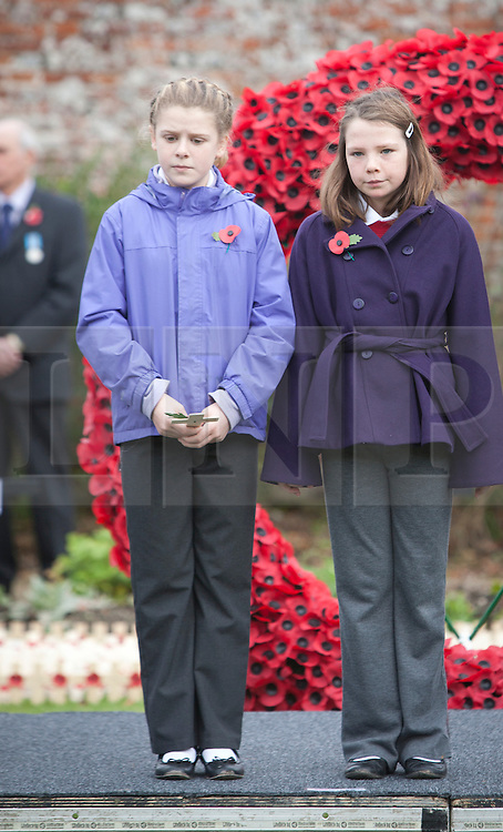 © Licensed to London News Pictures. 09/11/2012, Royal Wootton Bassett. Two young girls stand together as they prepare to plant a cross following a 2 minute silence at the Field of Remembrance today tin Royal Wootton Bassett. Photo credit : Alison Baskerville/LNP