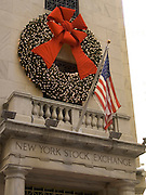 Christmas wreath above entrance NY stock exchange
