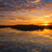South Florida nature photography from outdoor photographer Juergen Roth showing a stunning sunset across Loxahatchee National Wildlife Refuge located west of Boynton Beach in Palm Beach County, FL. Arthur R. Marshall Loxahatchee National Wildlife Refuge is an amazing area for viewing wildlife and photography in Florida. <br />