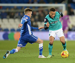 Blackburn Rovers's Joshua King takes it past Cardiff City's Craig Noone - Photo mandatory by-line: Alex James/JMP - Mobile: 07966 386802 - 17/02/2015 - SPORT - Football - Cardiff - Cardiff City Stadium - Cardiff City v Blackburn Rovers - Sky Bet Championship
