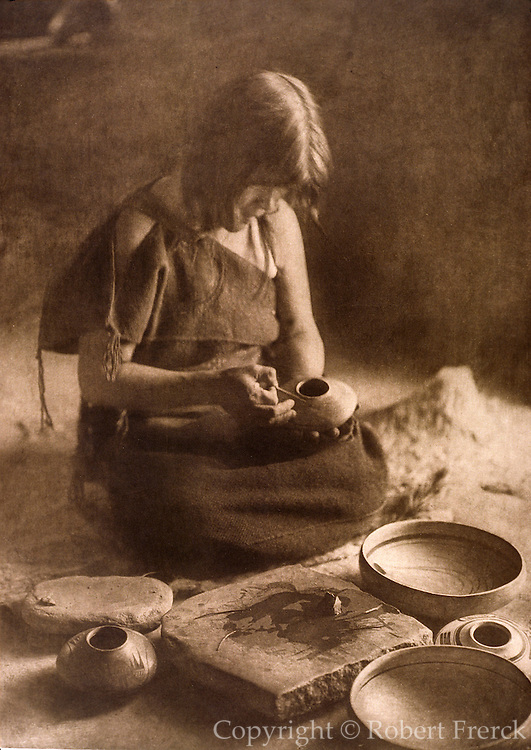 NATIVE AMERICANS E. Curtis photograph, early 20th century, The Potter (Hopi)