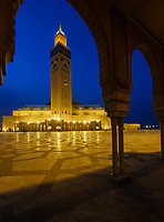 CASABLANCA, MOROCCO - CIRCA APRIL 2017: Mosque Hassan II in Casablanca at Night.
