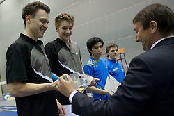 Medal ceremony of man doubles at Slovenia Open Badminton tournament 2012, on May 13, 2012, in Medvode, Slovenia. (Photo by Grega Valancic / Sportida.com)