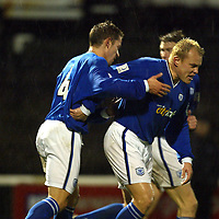Ayr Utd v St Johnstone...13.12.03<br />Mixu Paatelainen congratulates Paul Bernard on his goal<br /><br />Picture by Graeme Hart.<br />Copyright Perthshire Picture Agency<br />Tel: 01738 623350  Mobile: 07990 594431