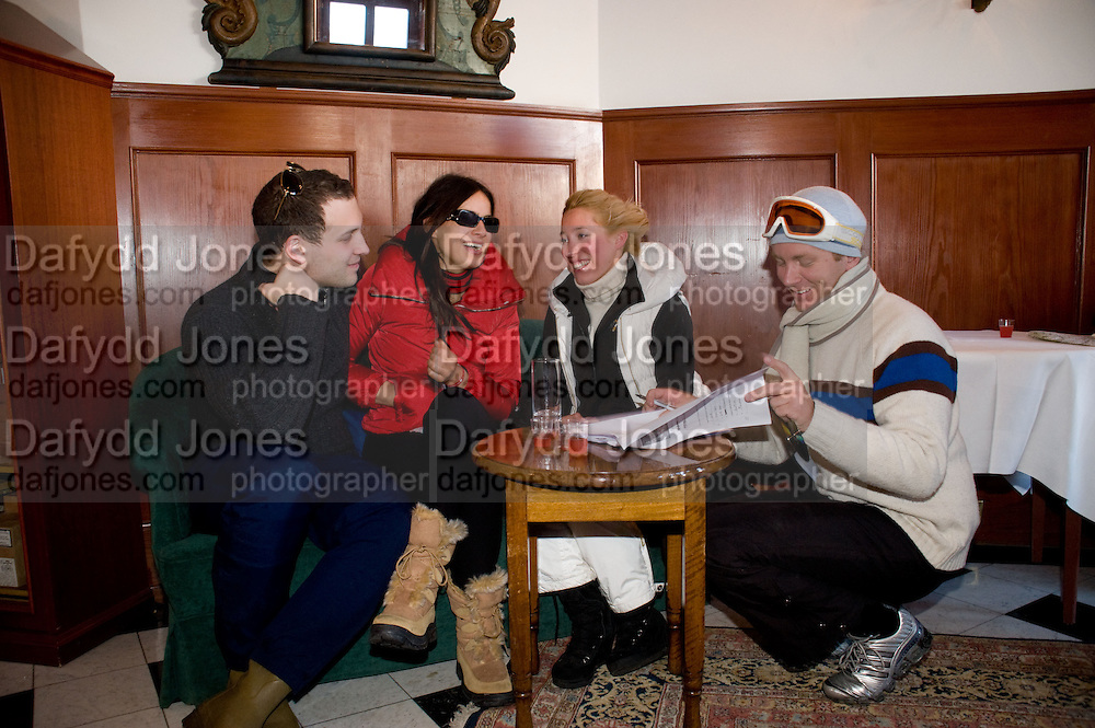 LORD FREDERICK WINDSOR; SOPHIE WINKLEMAN; ALEXANDRA BLOSS OWENS; PRINCE VALERIO MASSIMO DI ROCCASECCA.  ( PISTE AGAIN) Treasure Hunt in aid of the Knights of Malta,  St. Moritz, Switzerland. 23 January 2009 *** Local Caption *** -DO NOT ARCHIVE-&copy; Copyright Photograph by Dafydd Jones. 248 Clapham Rd. London SW9 0PZ. Tel 0207 820 0771. www.dafjones.com.<br /> LORD FREDERICK WINDSOR; SOPHIE WINKLEMAN; ALEXANDRA BLOSS OWENS; PRINCE VALERIO MASSIMO DI ROCCASECCA.  ( PISTE AGAIN) Treasure Hunt in aid of the Knights of Malta,  St. Moritz, Switzerland. 23 January 2009