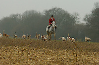 Fox Hunting.Binfield heath, Oxfordshire, England, February 7th, 2005 - Vale of Aylesbury with Garth and south hunt, Siniour joint Master Alan hill on the field.