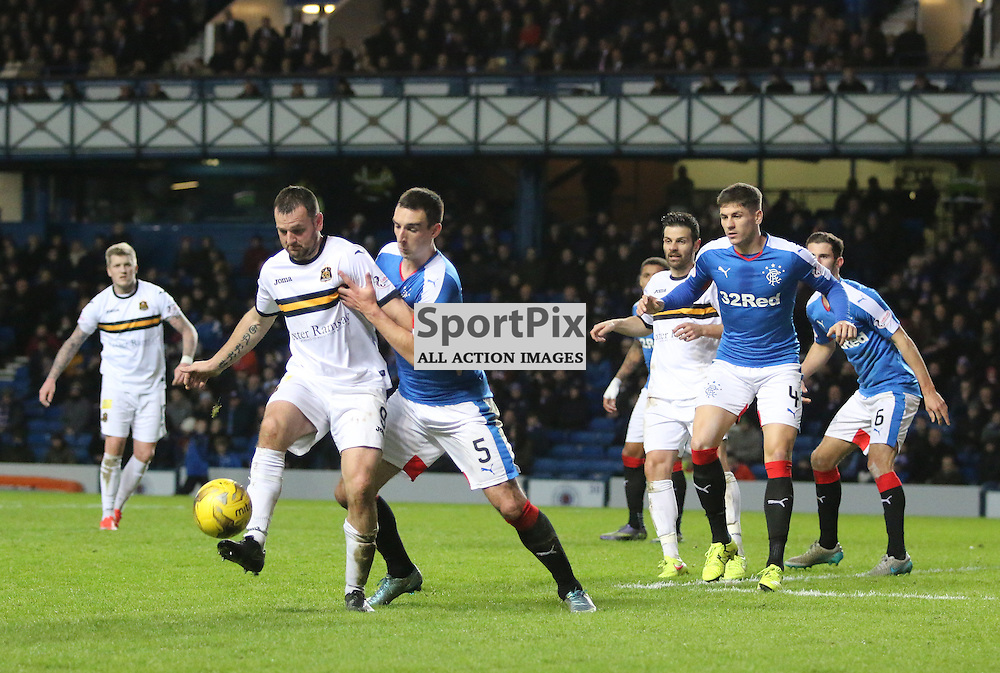 Garry fleming controls in the box  during the Rangers v Dumbarton  Scottish Championship  1 December 2015 <br /> <br /> (c) Andy Scott | SportPix.org.uk