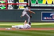 Jhonny Peralta #27 of the Detroit Tigers avoids the slide of Chris Parmelee #27 of the Minnesota Twins while turning a double play on September 29, 2012 at Target Field in Minneapolis, Minnesota.  The Tigers defeated the Twins 6 to 4.  Photo: Ben Krause