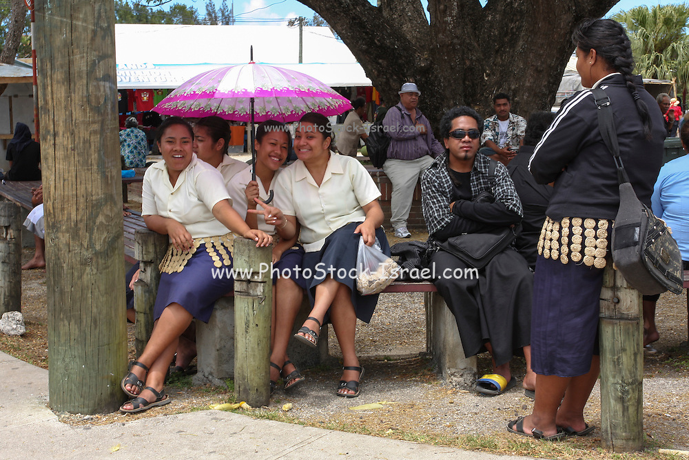 Tonga local people in the town square