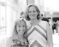 Garden City, New York, U.S. July 20, 2019. L-R, BETH OBERGH and Nassau County Executive LARUA CURRAN pose for photo at the Moon Fest Apollo at 50 Countdown Celebration at Cradle of Aviation Museum in Long Island, held during the same time Apollo 11 Lunar Module landed on the Moon 50 years ago.