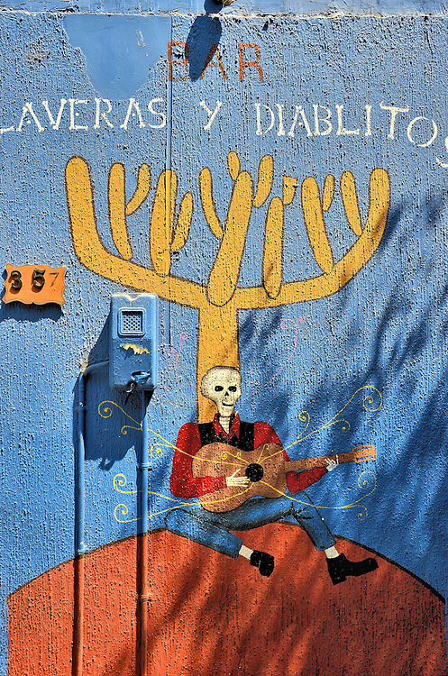 Calaveras y Diablitos Mural in Arica, Chile<br /> This welcoming skeleton playing a guitar is a mural at the entrance to Calaveras y Diablitos, a bar featuring loud rock. There are several other venues for your evening entertainment including bars, taverns, discos and a modest casino. The best place for good DJs is at Soho.  Or try either Barrab&aacute;s or Kamikaze because both provide great views of the ocean.