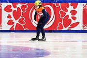 Graz, Austria - 2017 March 24: Marieke Kuijt from from SO Netherlands (132) competes in Speed Skating 333 meters race while Special Olympics World Winter Games Austria 2017 at Icestadium Graz Liebenau on March 24, 2017 in Graz, Austria.<br /> <br /> Mandatory credit:<br /> Photo by &copy; Adam Nurkiewicz / Mediasport<br /> <br /> Adam Nurkiewicz declares that he has no rights to the image of people at the photographs of his authorship.<br /> <br /> Picture also available in RAW (NEF) or TIFF format on special request.<br /> <br /> Any editorial, commercial or promotional use requires written permission from the author of image.<br /> <br /> Image can be used in the press when the method of use and the signature does not hurt people on the picture.