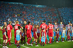 TRABZON, TURKEY - Thursday, August 26, 2010: Liverpool's players shake hands with Trabzonspor's players before the UEFA Europa League Play-Off 2nd Leg match at the Huseyin Avni Aker Stadium. (Pic by: David Rawcliffe/Propaganda)