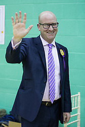 © Licensed to London News Pictures . 20/11/2014 . Kent , UK . UKIP deputy leader PAUL NUTTALL MEP waves and smiles as the ballots are counted . The count for the Rochester and Strood by-election , following the defection of sitting MP Mark Reckless from Conservative to UKIP . Photo credit : Joel Goodman/LNP