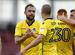 Peter Hartley of Bristol Rovers celebrates with teammates after scoring a goal to put his side 1-2 ahead against Northampton Town - Mandatory by-line: Robbie Stephenson/JMP - 01/10/2016 - FOOTBALL - Sixfields Stadium - Northampton, England - Northampton Town v Bristol Rovers - Sky Bet League One