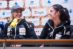 Janja Garnbret 3 time world champion with Mia Krampl during PZS press conference after IFSC Climbing World Championships in Hachioji (JPN) 2019, on August 23, 2019 at Ministry of Education, Science and Sport, Ljubljana, Slovenia. Photo by Grega Valancic / Sportida