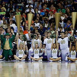 April 7, 2013; New Orleans, LA, USA; Notre Dame Fighting Irish cheerleaders and mascot perform against the Connecticut Huskies during the first half in the semifinals during the 2013 NCAA womens Final Four at the New Orleans Arena. Mandatory Credit: Derick E. Hingle-USA TODAY Sports