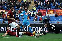 Parata di Morgan De Sanctis Roma su Dries Mertens Napoli <br /> Roma 04-04-2015 Stadio Olimpico, Football Calcio Serie A AS Roma - Napoli Foto Andrea Staccioli / Insidefoto
