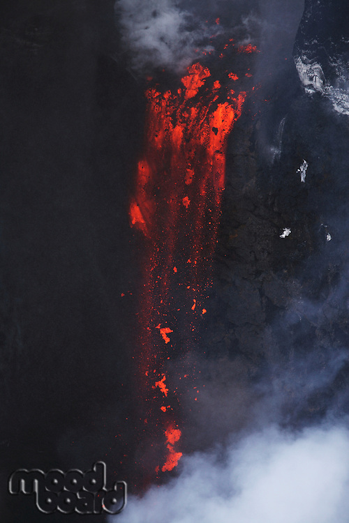 Molten lava flowing from Eyjafjallajokull Fimmvorduhals Iceland