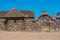 stone house in the peruvian Andes at Puno Peru