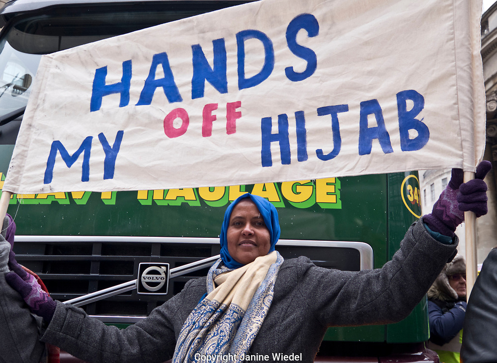 Protest supporting Hijab wearing at Stand up against Racism, International demonstration in London to mark UN anti-racism day. March 17 2018