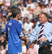 Falkirk manager John Hughes congratulates David Weir after the Homecoming Scottish FA Cup Final between Falkirk and Rangers at Hampden Park (picture by David Young - 07765 252616)
