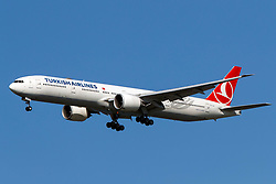 Boeing 777-3F2 ER (TC-JJJ) operated by Turkish Airlines on approach to San Francisco International Airport (KSFO), San Francisco, California, United States of America