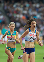 Athletics - 2017 IAAF London World Athletics Championships - Day One<br /> <br /> Event: Womens 1500m Qualifying Heat 1 <br /> <br /> Jessica Judd (GBR) leads out with Zoe Buckman (AUS) <br /> <br /> COLORSPORT/DANIEL BEARHAM
