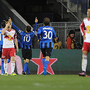 HARRISON, NEW JERSEY- November 06:  Ignacio Piatti #10 of Montreal Impact celebrates after scoring his second goal during the New York Red Bulls Vs Montreal Impact MLS playoff match at Red Bull Arena, Harrison, New Jersey on November 06, 2016 in Harrison, New Jersey. (Photo by Tim Clayton/Corbis via Getty Images)