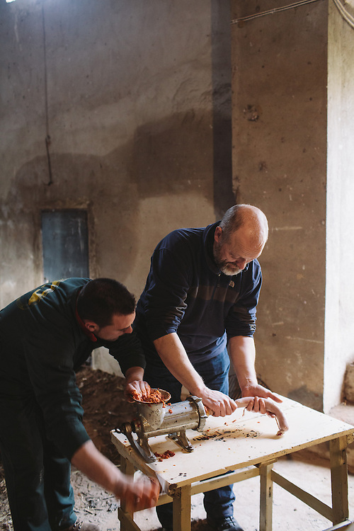 Food writer Tim Hayward has a go at producing Chorizo from the Iberico pig. Extramedura, Spain