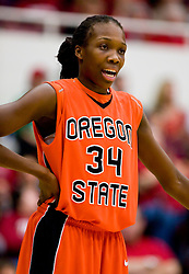 February 20, 2010; Stanford, CA, USA;  Oregon St. Beavers forward El Sara Greer (34) during the first half against the Stanford Cardinal at Maples Pavilion.  Stanford defeated Oregon State 82-48.