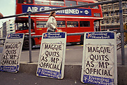 On the day that Prime Minister Margaret Thatcher resigns as Prime Minister, newspaper headlines report her departure after being deposed by Conservative Party colleagues, after 11 years as UK premier, on 22nd November 1990, in London, England.